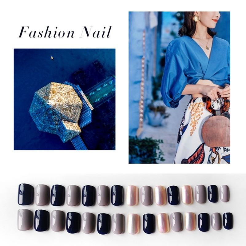 Square Navy Blue Scale Light Nail
