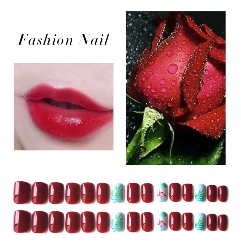Square Red Color Press On Nail