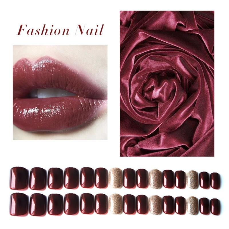 Square Wine Red Color Glitter  Press On Nail