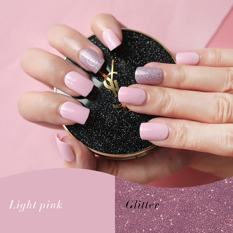 Square Light Pink Glitter  Press On Nail