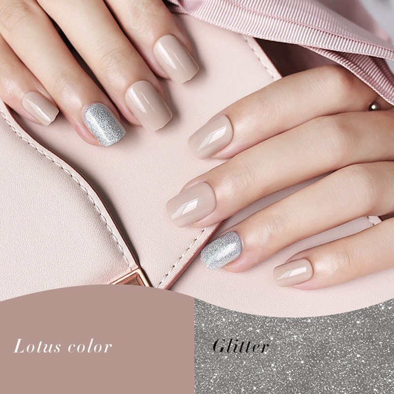 Square lotus color glitter nail