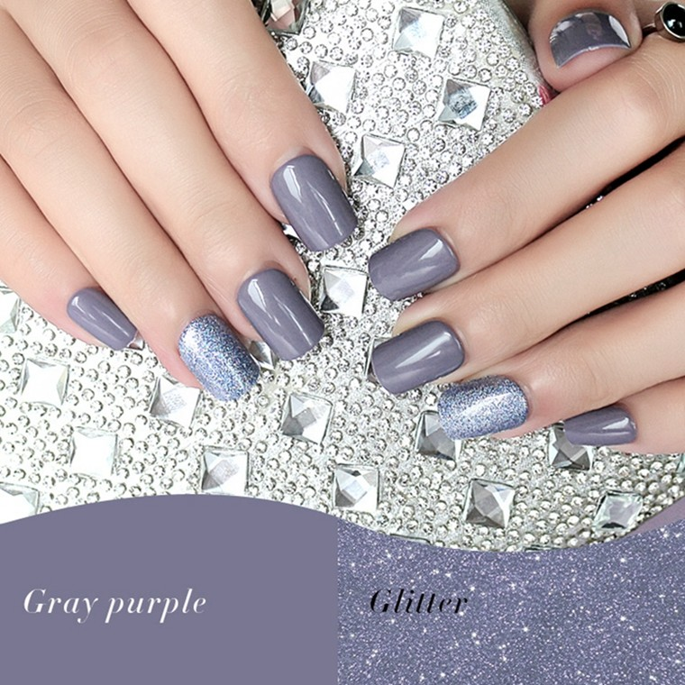 Square gray purple glitter nail