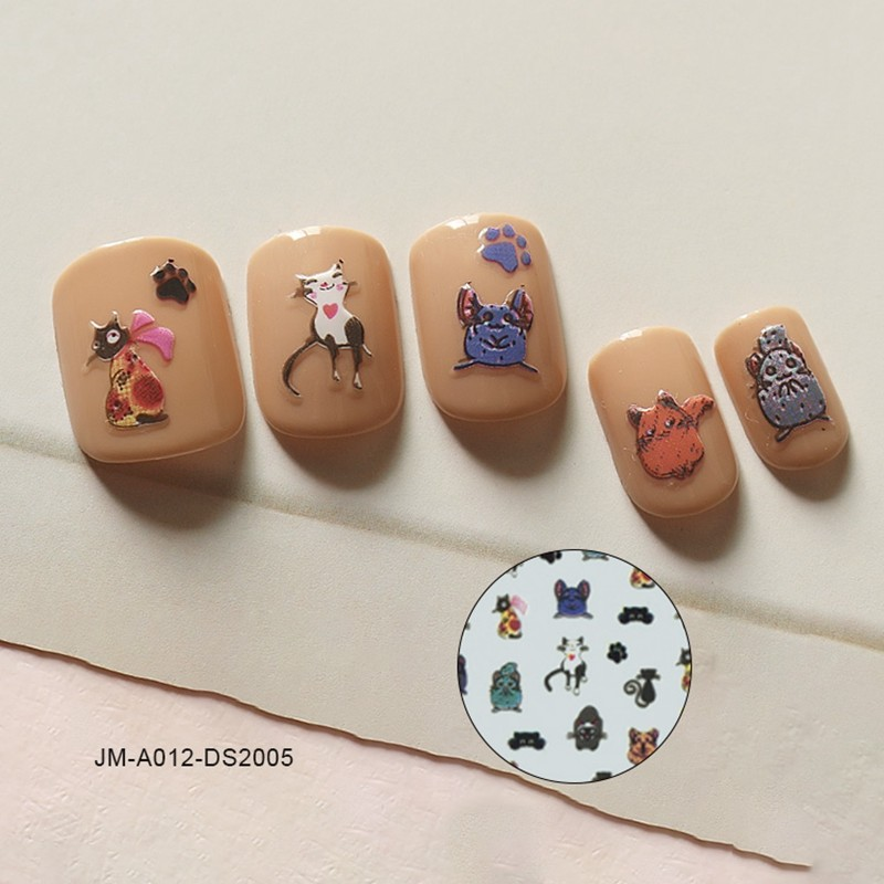playful cat nail sticker
