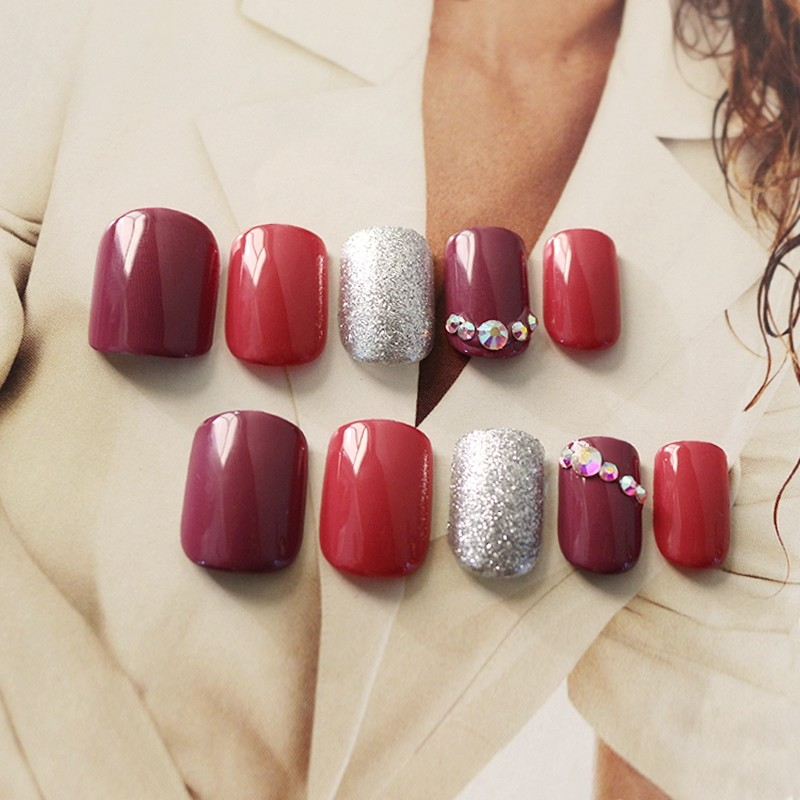 glitter printing stone purple red color nail