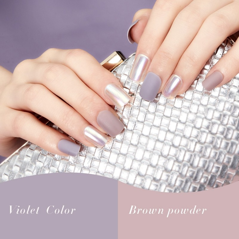 Violet color brown powder velvet nail