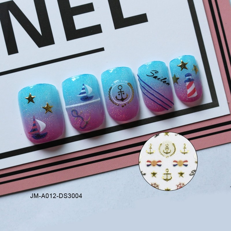 navy style metallic 3d nail sticker