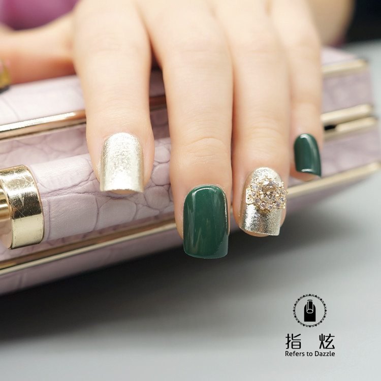 Press on soft glitter stone green gift set nail