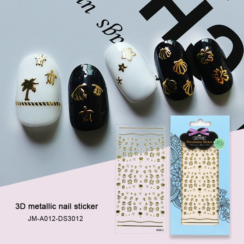 beach design 3d meatllic nail sticker