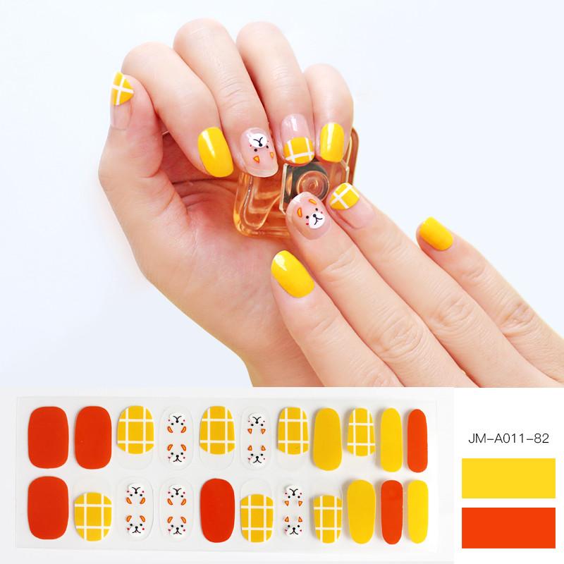 cute dog yellow plaid nail strips