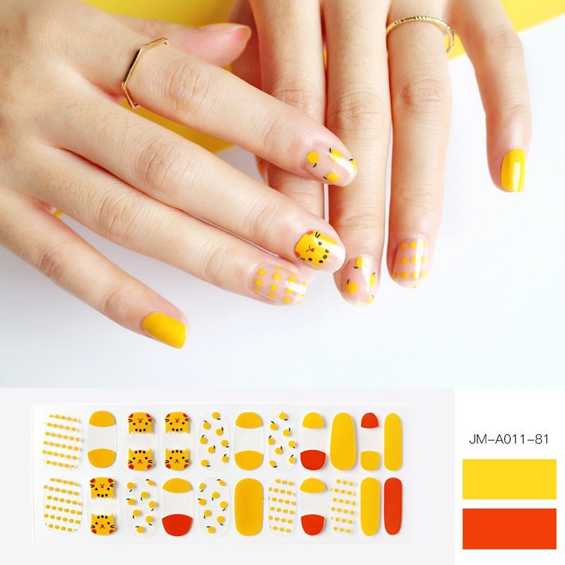 cute cat yellow nail strip for girl