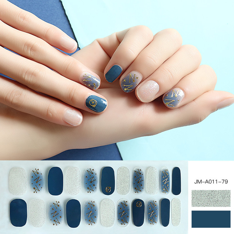 metallic star design glossy nail strips