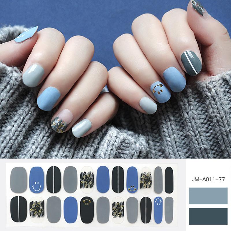 blue smile design nail patch