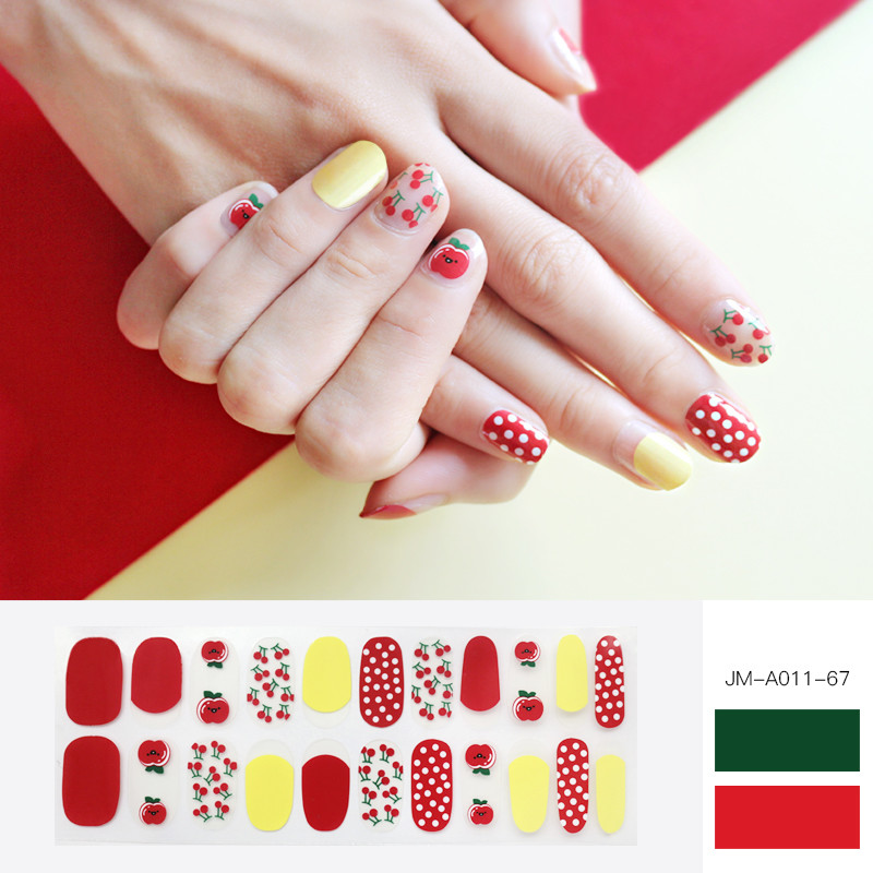 red cherry & dot gel nail strip