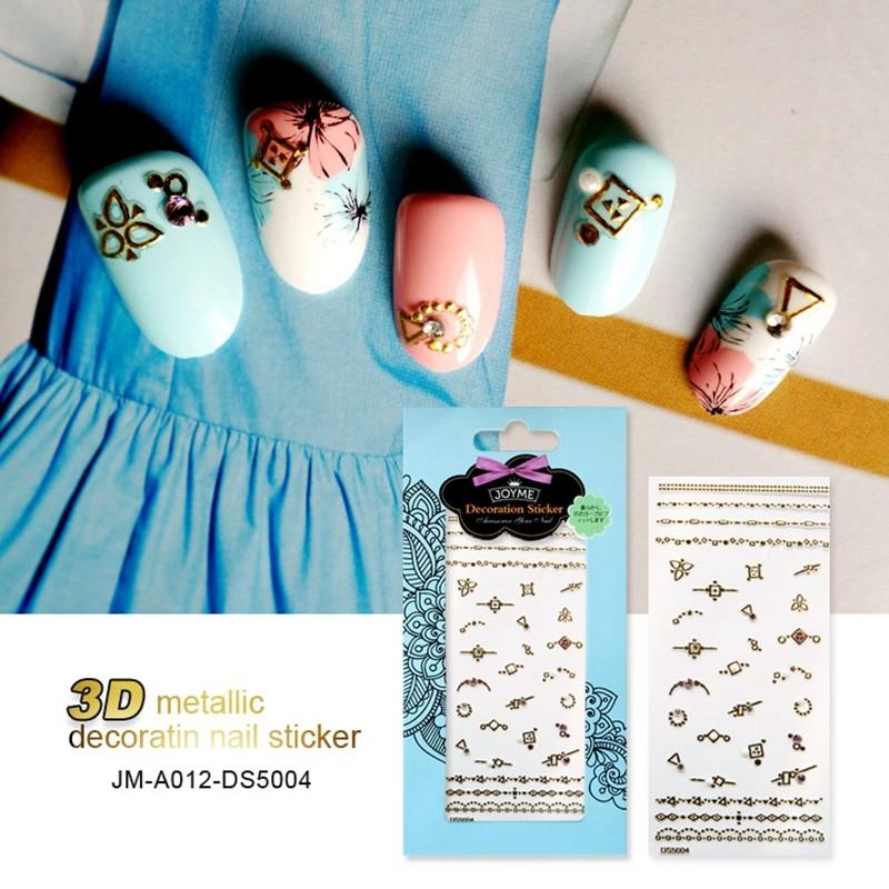 Custom Nail Art Metallic Gold 3D Decal Nail Stencils For Nail Beauty Stickers