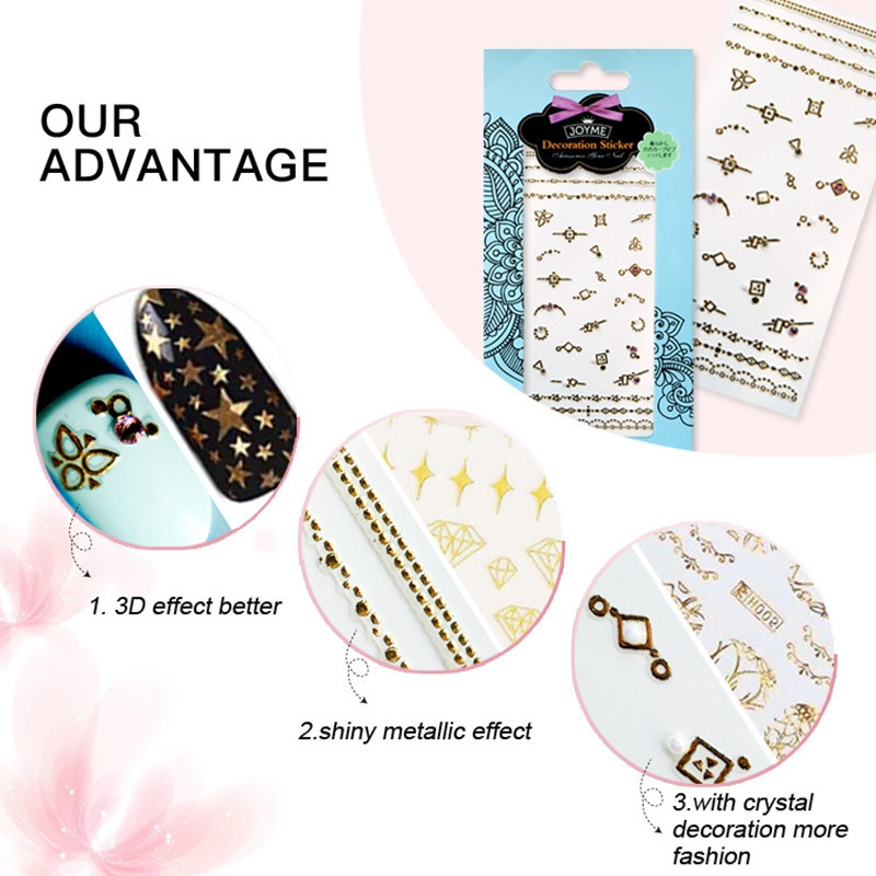newest gold nail stickers design for women