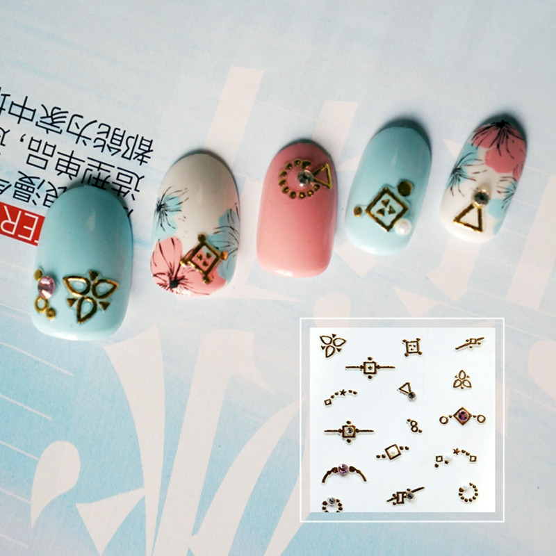 newest gold nail stickers design for women-5