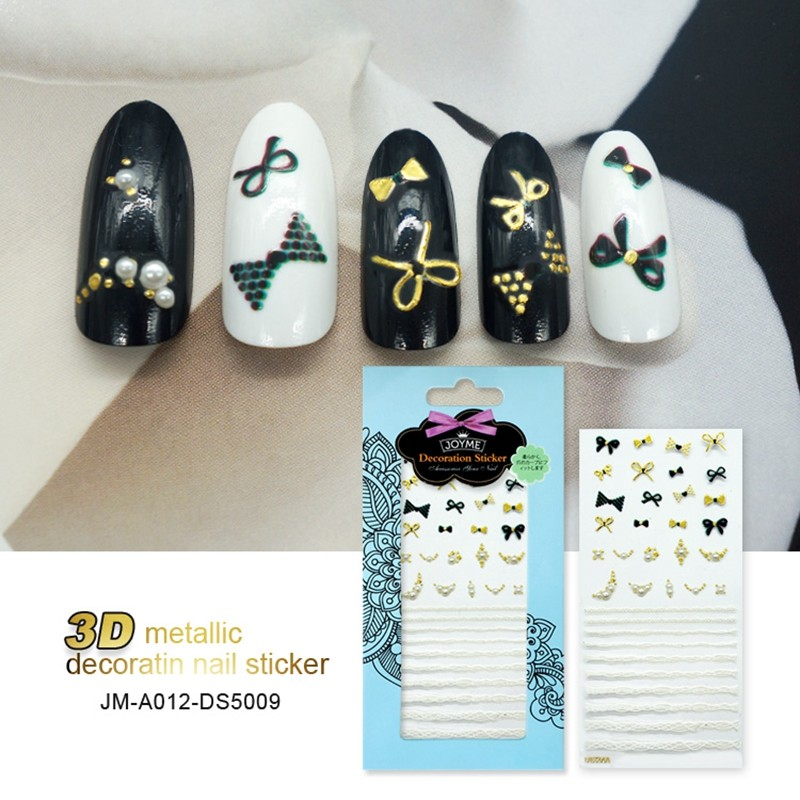 Self-Adhesive Sexy Gold Lace Design 3D Nail Art Sticker for Women Self-adhesive 3D Metallic Gold Nail Stickers