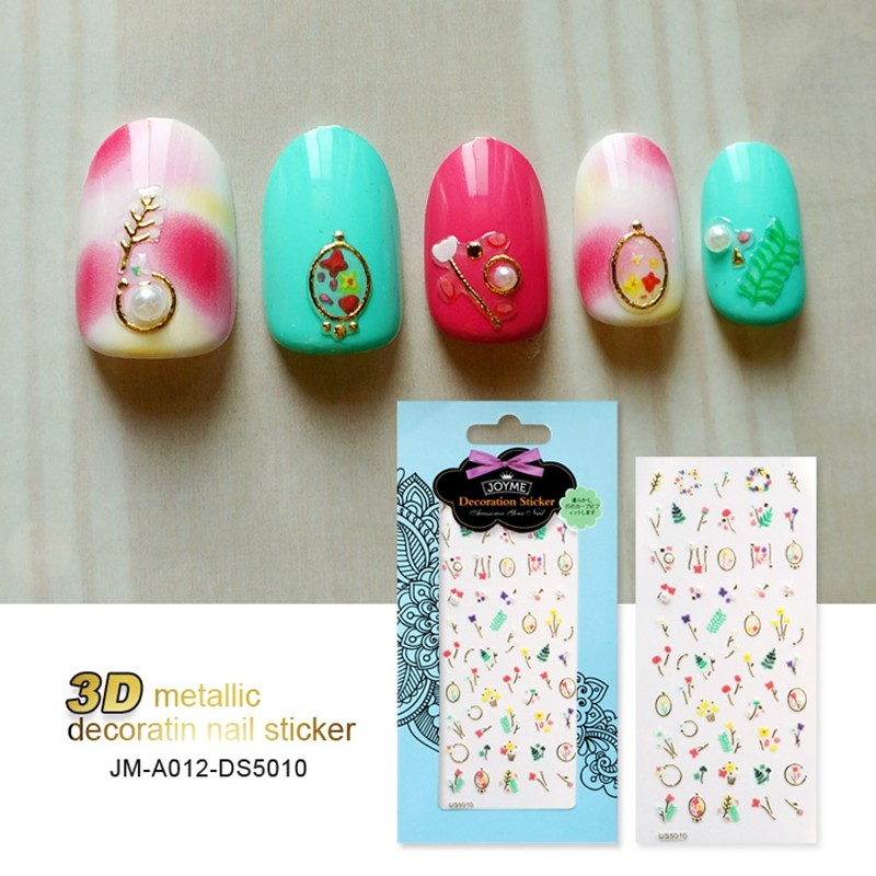 Gold Silver Colors Adhesive Metallic Nail Stickers