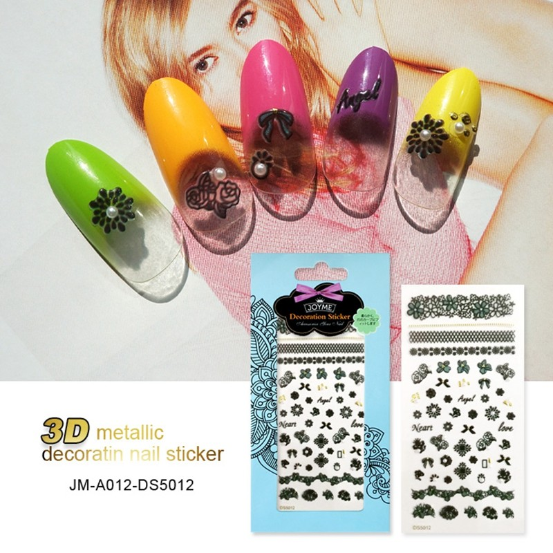 3D Nail Art Stickers Decals Patch Metallic Flowers Designs Stickers For Nails Art Decoration Tips Salon Accessory Tool