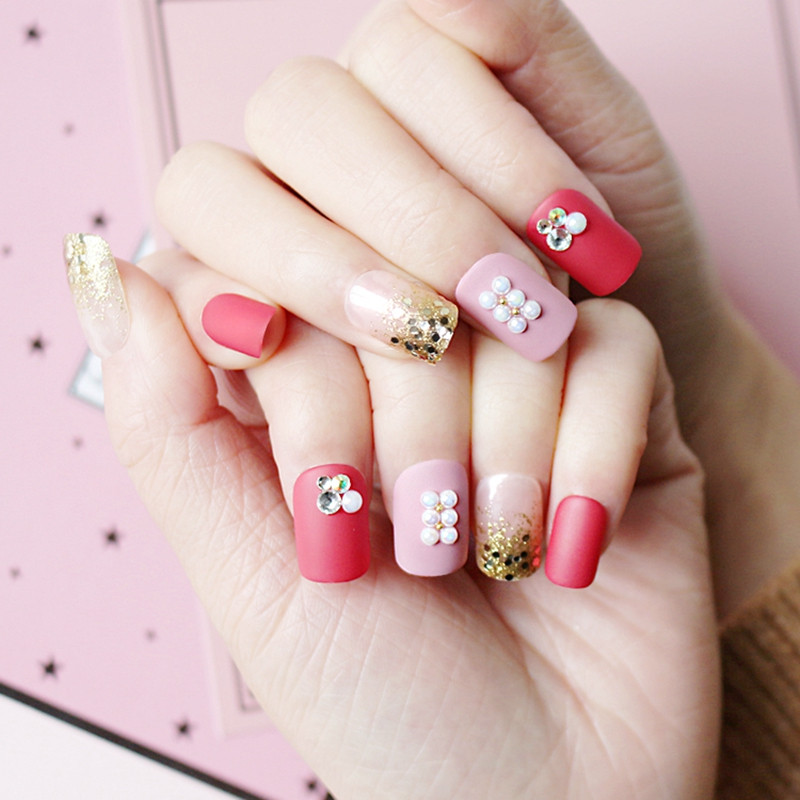 red press on nails amazon from China for lady-4