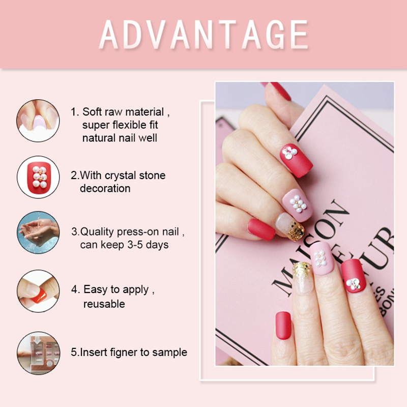 red press on nails amazon from China for lady-5