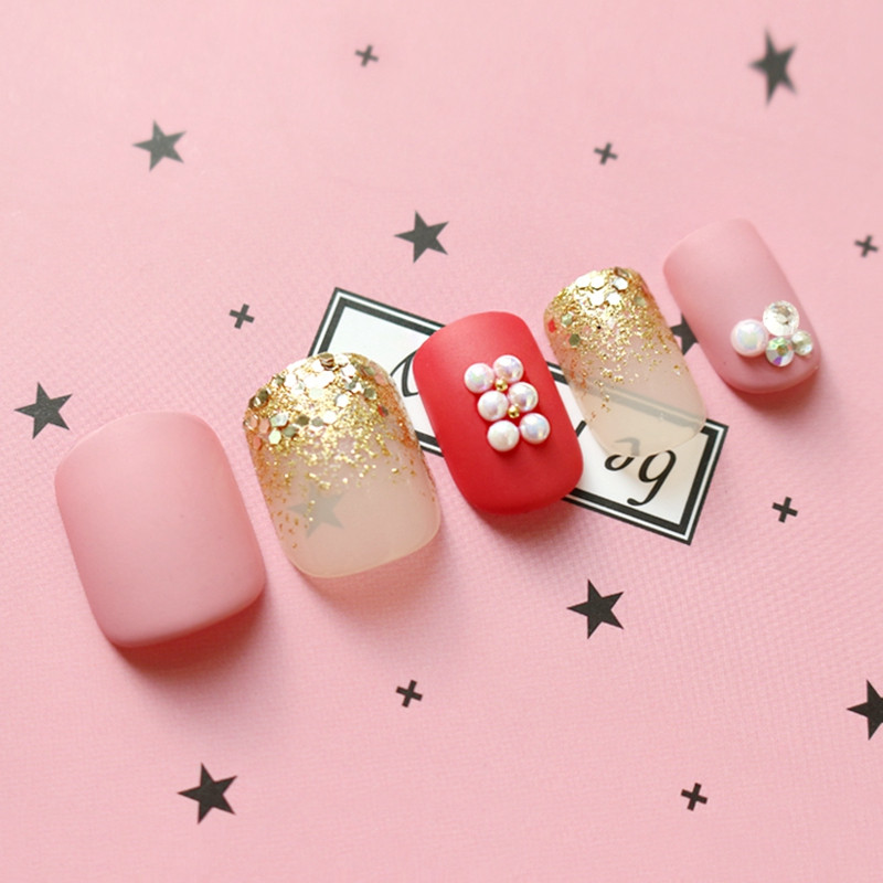 red press on nails amazon from China for lady-6