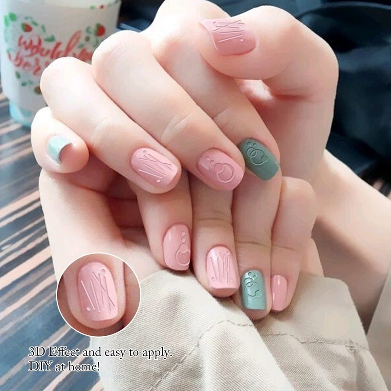 New popular nail art embossed adhesive decorative flower 3d nail sticker for girl