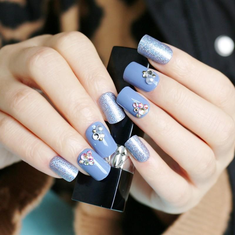 square shape nail smog blue glitter stone press on nail