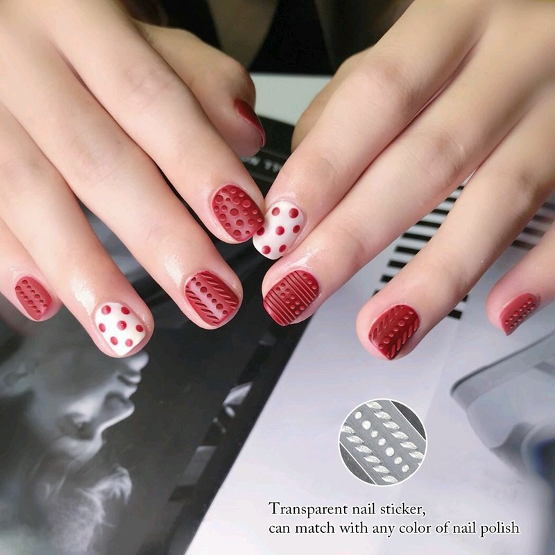 Nail supplies newst pure white dot 3D nail stickers