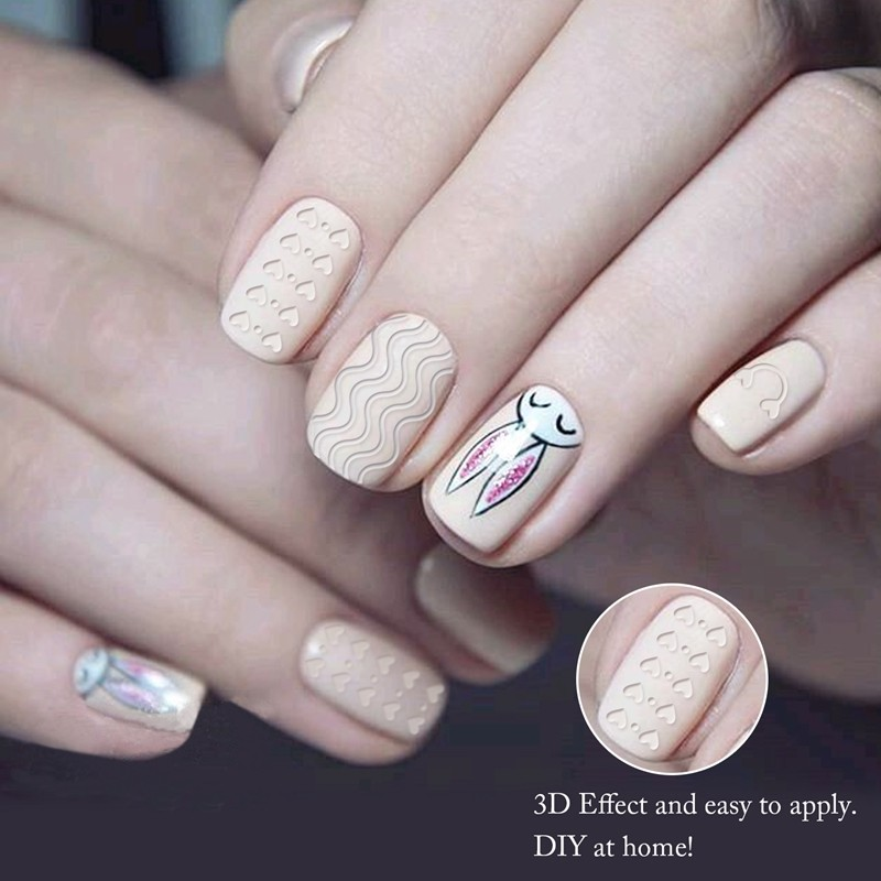 Valentine Day sweet heart design pattern 3D nail art sticker