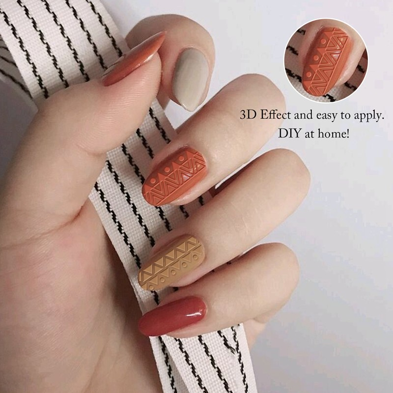 white 3D Nail Stickers lace transparent Decals nail sticker