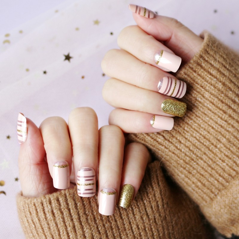 square shape nail red strip nude with gold glitter press on nail