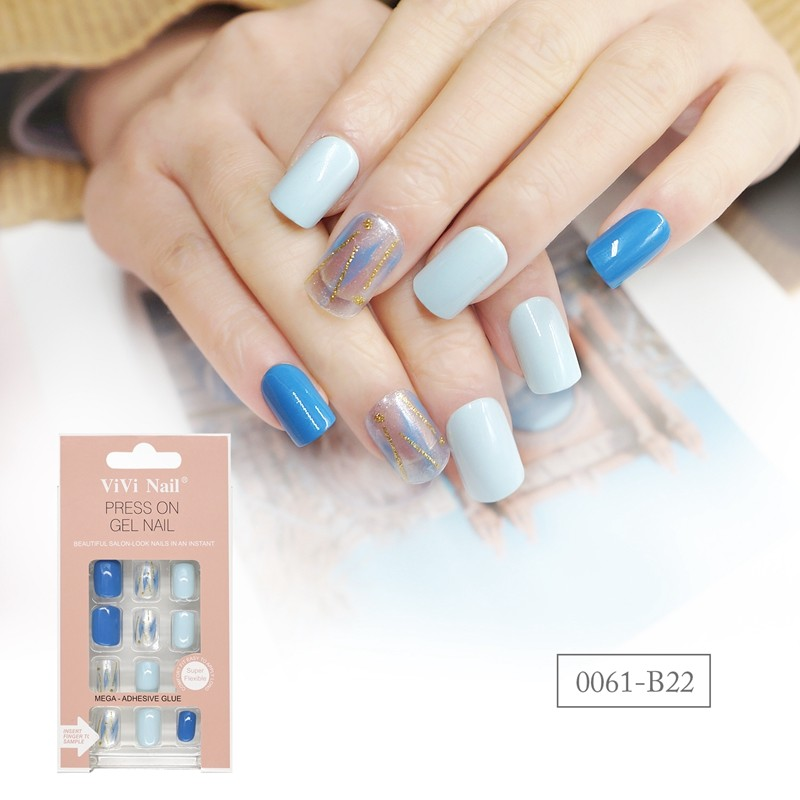 Square Shape Nail Blue Sky Press On Nail
