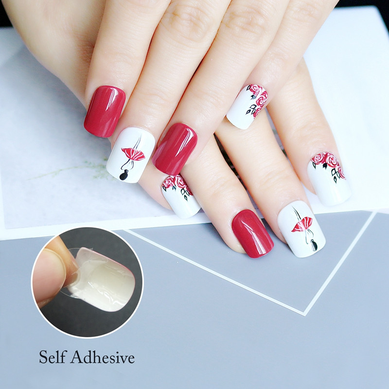 gold long fake nails from China for lady-5