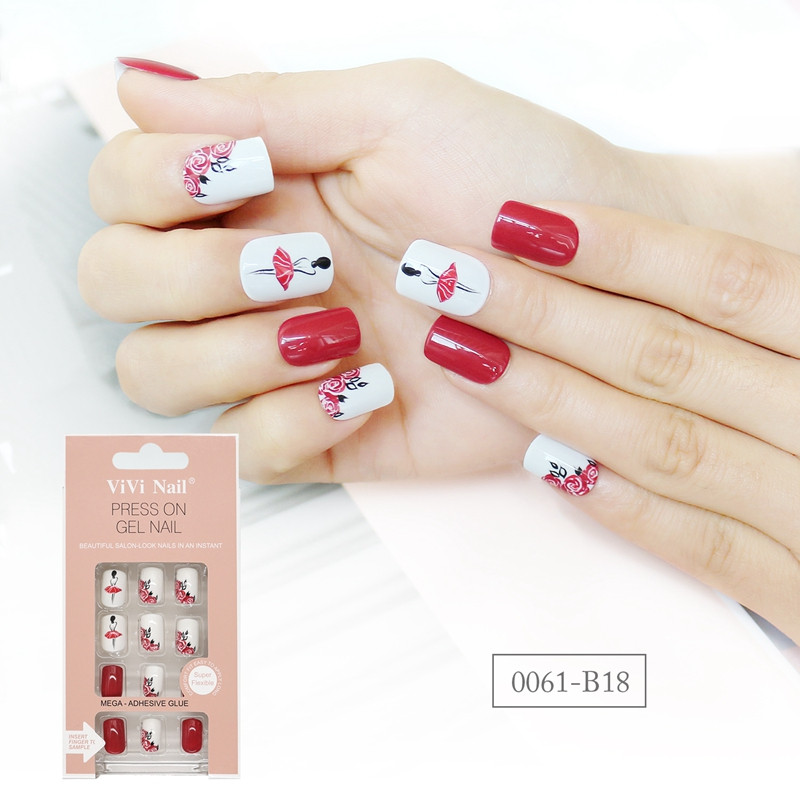 gold long fake nails from China for lady-6