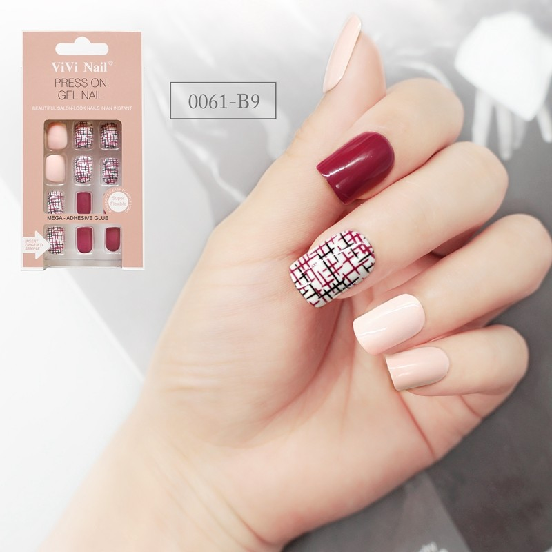 Square Shape Nail Classical Red Lattice Design Nude Press On Nail