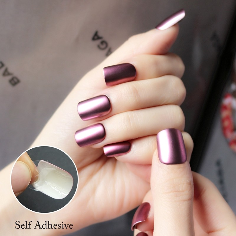 artifical false finger nail press on salon false nail decorated metallic false nail tips