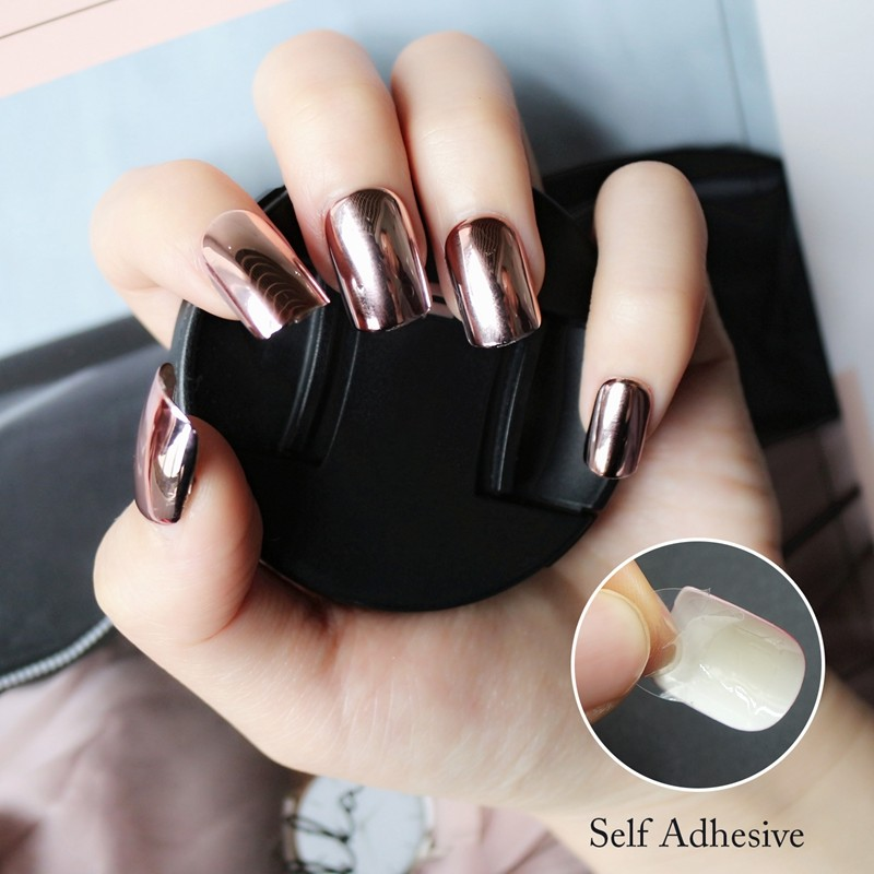 24Pcs Fashion Metallic Plating Full Cover False Nail Tips Mirror Effect Press On Salon Nail