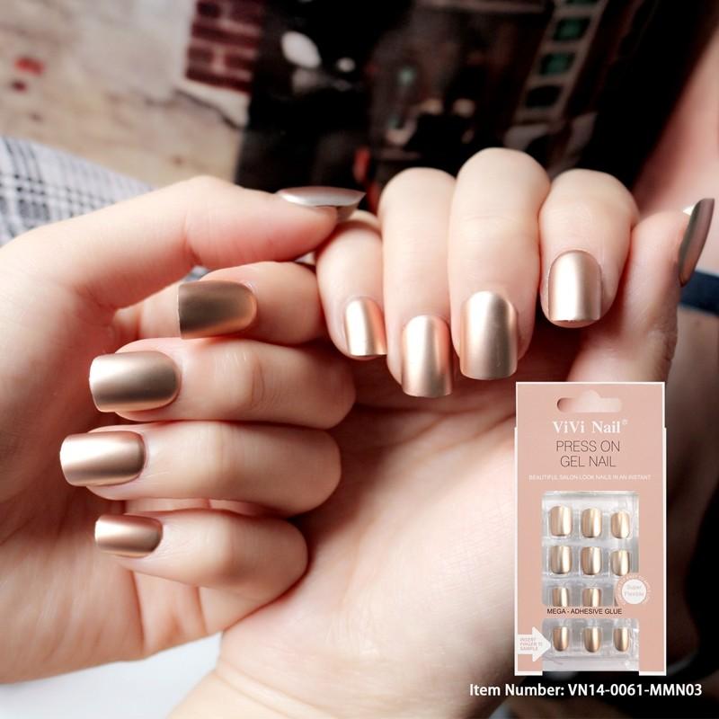 24pcs of packing abs artificial nails metallic lady false nail tips
