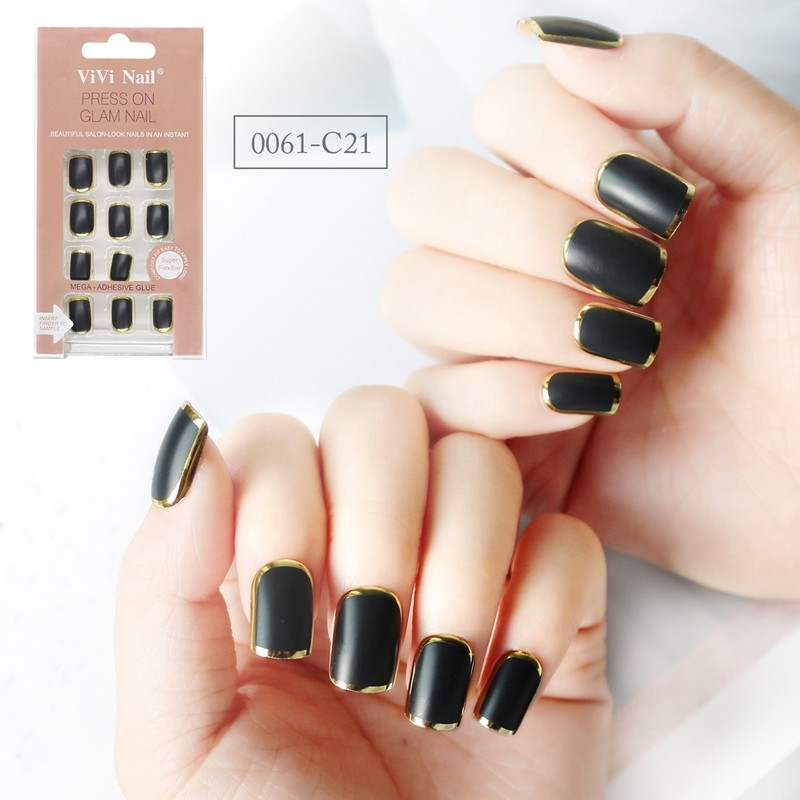 square shape nail supplier black with metallic strip press on nail