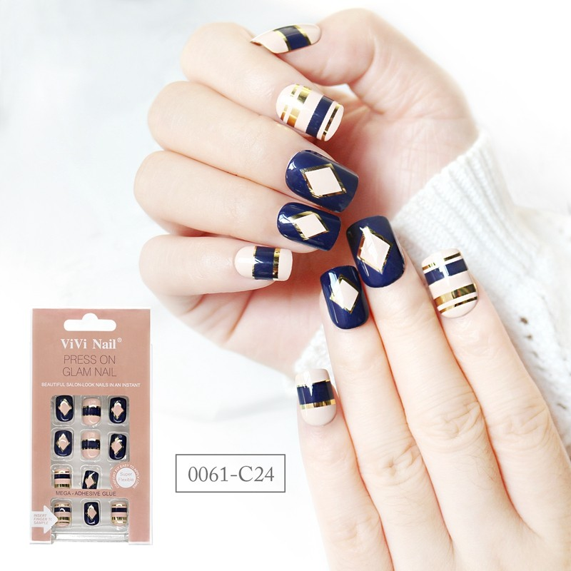 square shape nail supplier blue and nude with metallic design press on nail