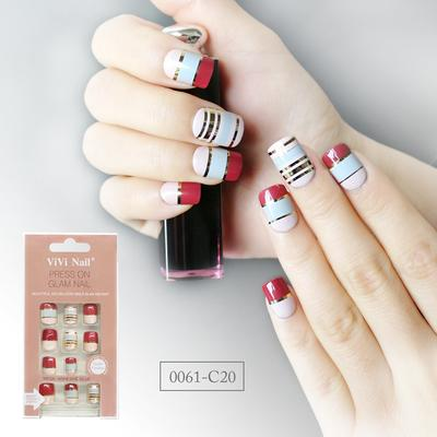 square shape nail supplier red and blue with metallic gold strip press on nail