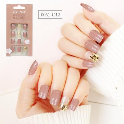 square shape nail supplier nude with glitter press on nail