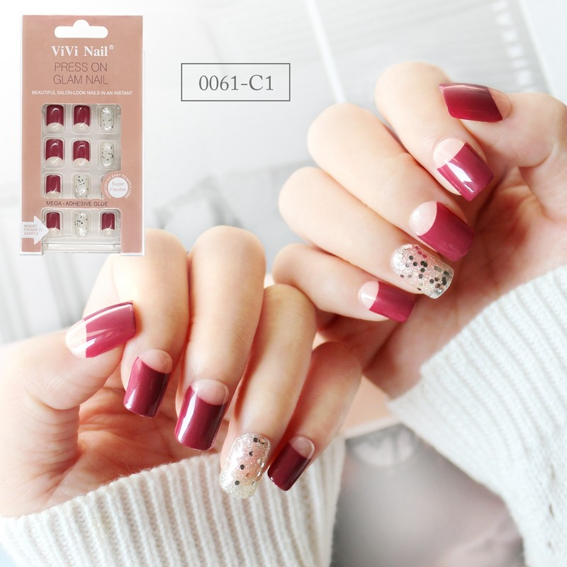 Square Shape Nail  Supplier Red French With Glitter Press On Nail