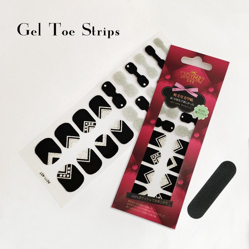 Nail sticker Manufaturer Gel Toe polish strips black with glitter
