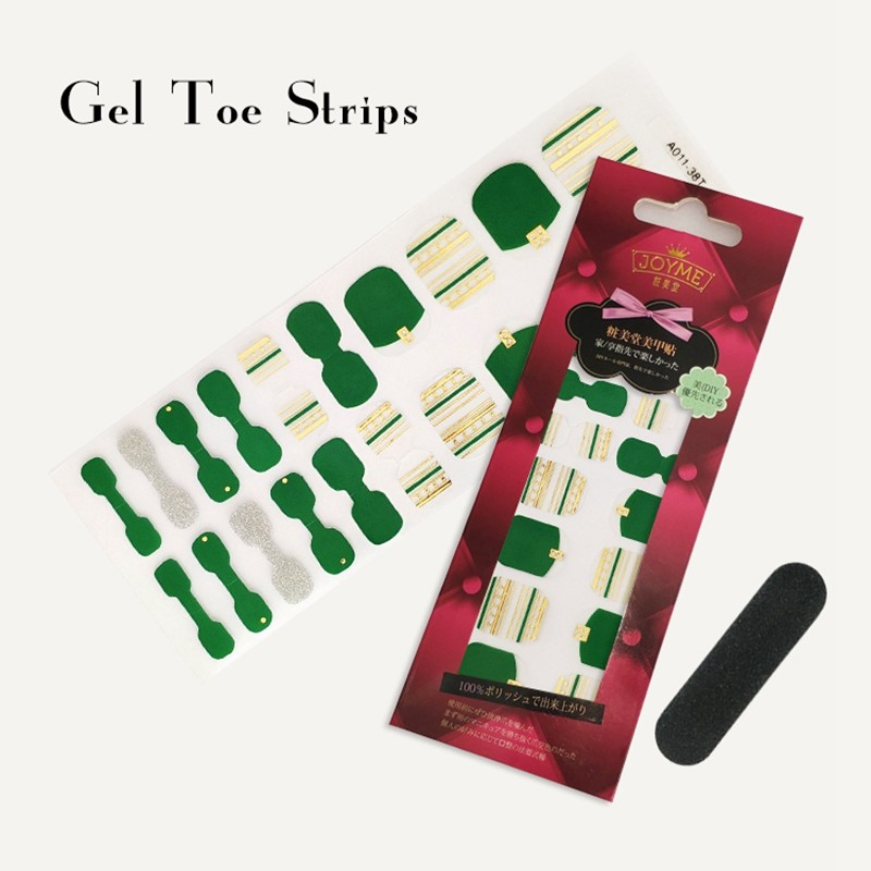 OEM Supplier Gel Toe polish strips green with metallic