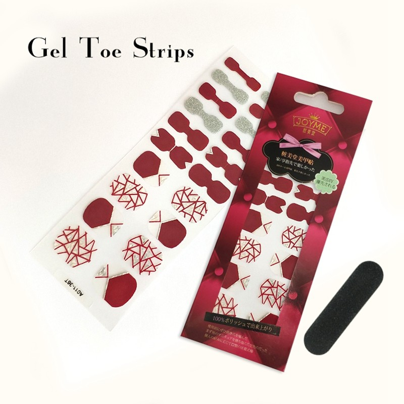 OEM custom Gel Toe polish strips red with gridding