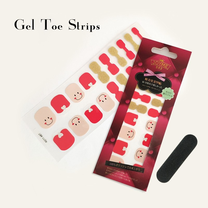 Gel Toe Strips Imported PU Film Korea Glitter Sticker Mabufacturer Red and Pink design