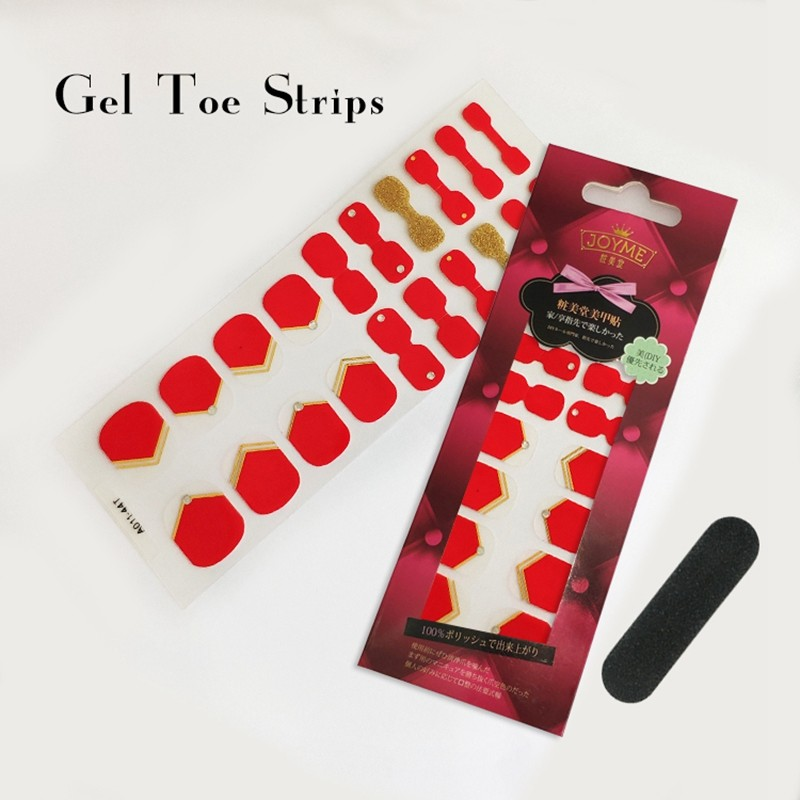 Gel Toe Strips Import PU Film Factory Toe sticker Red with glod glitter