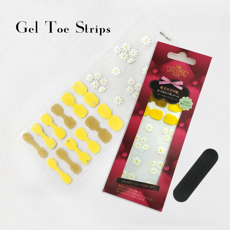 Gel Toe Strip Manufacturer for nail sticker yellow with white